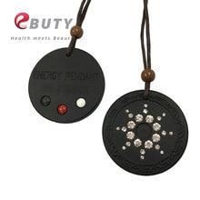 EBUTY вулканической лавы кулон Quantum pendant, фианиты, кристаллы, пихта шарик из Германия на спине черный ювелирные изделия для здоровья подарок с коробкой