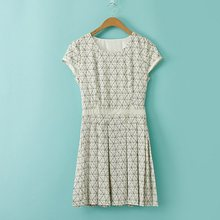 spring and summer new fashion round neck geometric pattern rivet casual dress female, sets of head was thin dress female sweet round neck geometric pattern mini dress for girl