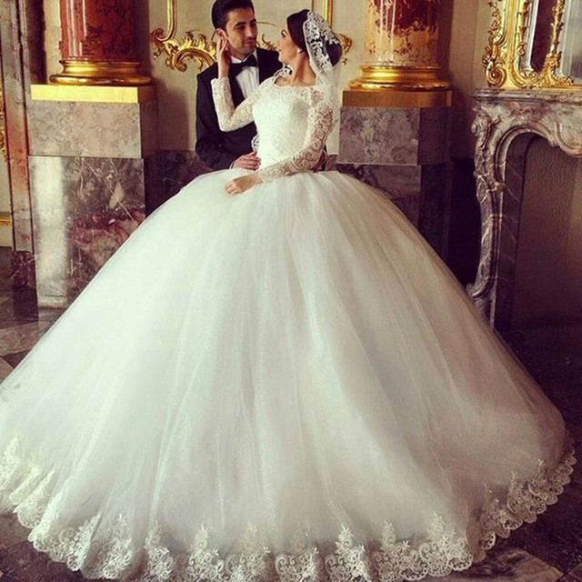 1c72ce2e24 Gorgeous Sheer Wedding Dresses 2019 Puffy Lace Beaded Applique White Long  Sleeve Arab Wedding Gowns robe de mariage