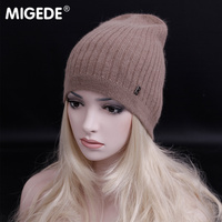 2018 New arrival fashion brand Wool Rabbit Fur Beanie Hat Women Winter knitted Wool Skullies Casual Hat Cap Autumn Ladies Gorro