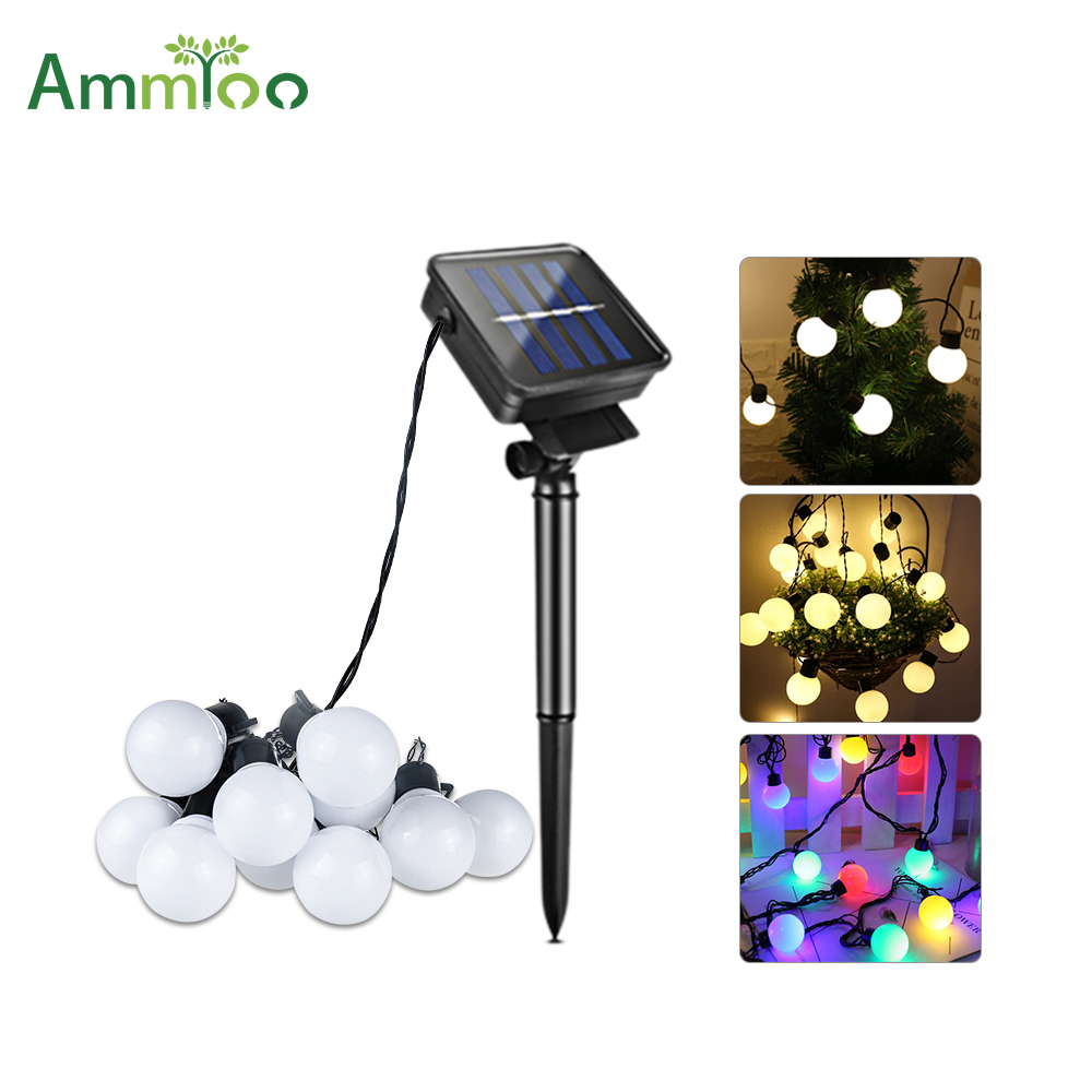 LED Solar String Light Bulbs 10/20leds Solar Powered Waterproof Landscape Globe Bulb Lights