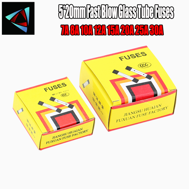 10pcs/lot One Sell 5*20mm Fast Blow Glass Tube Fuses 5x20 250V 7A 8A 10A 12A 15A 20A 25A 30A AMP Fuse