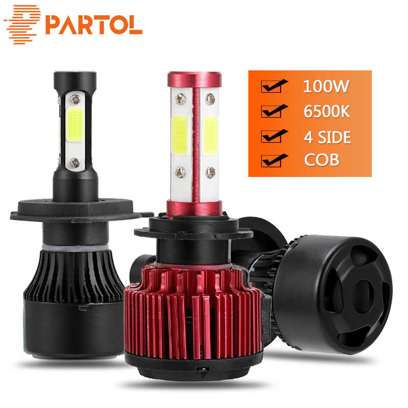 Partol Super Bright 100W H4 Led Headlight Bulbs Fog Lights 4 Sides H7 Car Light 4 COB Chips Auto H11 LED 10000LM 9005/9006 12V