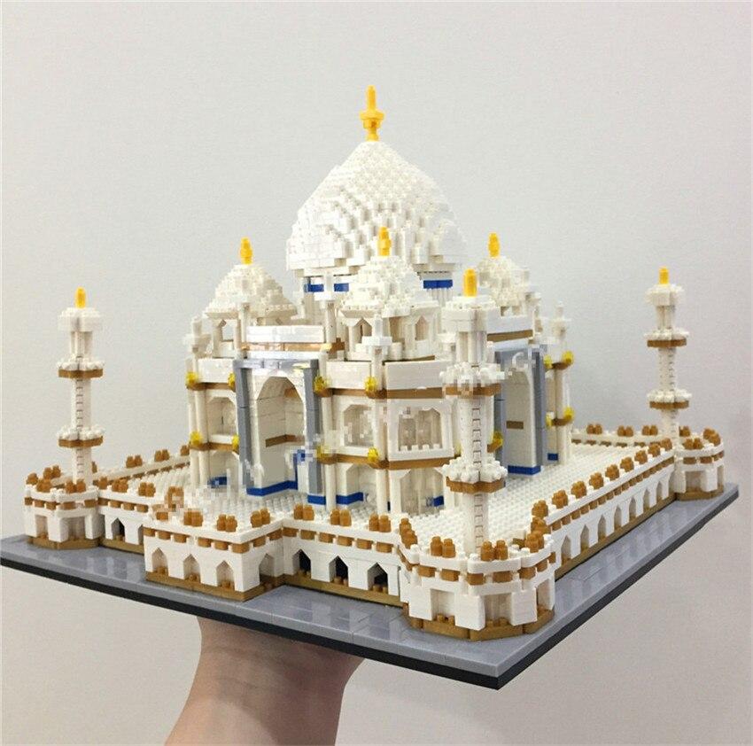 цена на PZX Mini Blocks 3950pcs Luxury Nano World Architecture Taj Mahal Model Building Bricks juguetes for Children Toys Kids Gift 9914