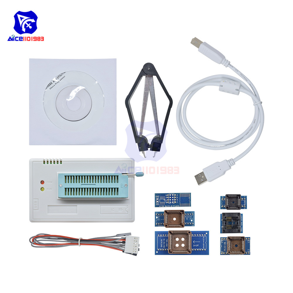 TL866II Plus Programmer USB EPROM Flash BIOS Programmable Logic Circuits 6 Adapters Socket Extractor 6 Pin Wire for 15000 IC