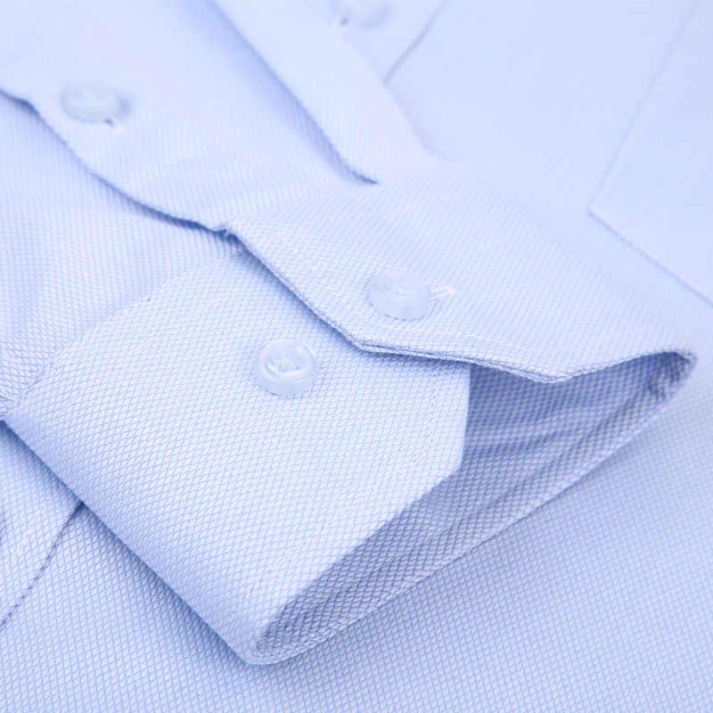 Alta calidad vestido de hombre sin planchar camisa de manga larga 100% algodón 2019 nuevo sólido masculino talla grande Fit negocios camisas blanco azul
