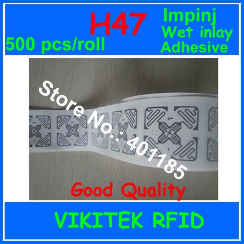 RFID UHF sticker Adhesive Impinj H47 3D wet inlay 500pcs 860 960MHZ Monza4 915M EPC C1G2