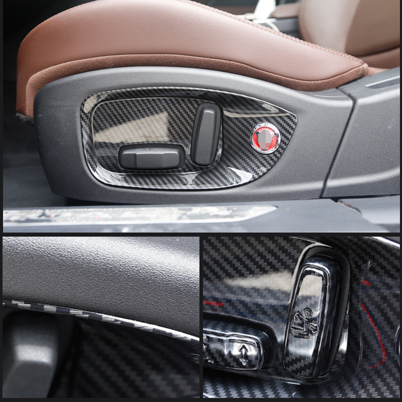 For Jaguar E-PACE 2018-2019 ABS Carbon Fiber Steering Wheel Interior Cover Trim