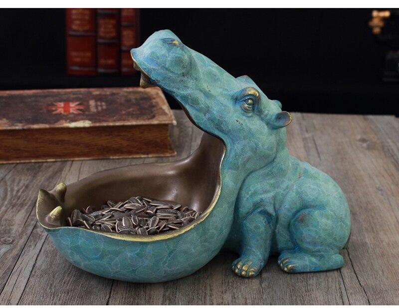 hippopotamus statue decoration