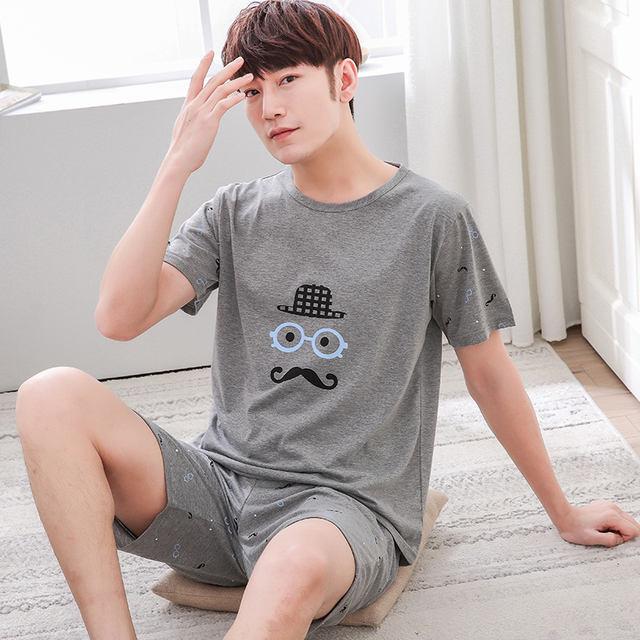 Summer Men's Pajamas set Cotton Sleep shirt & Shorts Suit Male Sexy Sleepwear Suit homewear Pijama Casual Two Piece Set XXXXL