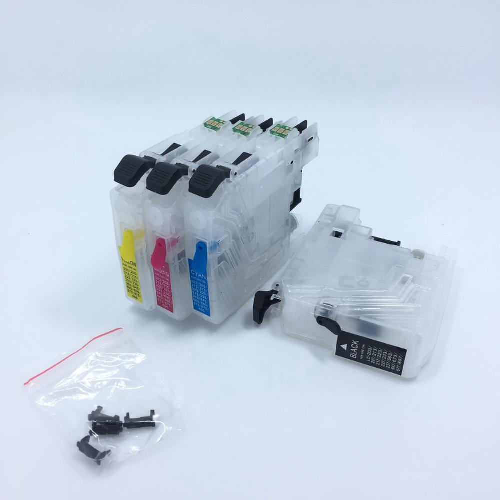 YOTAT 4pcs refillable ink cartridge LC223 for Brother DCP-4120DW MFC-J4420DW MFC-J4620DW MFC-J4625DW MFC-J480DW MFC-J680DW lc73 lc79 lc75 lc1240 lc1280 refillable cartridge for brother dcp j6510dw j6710dw j6910dw