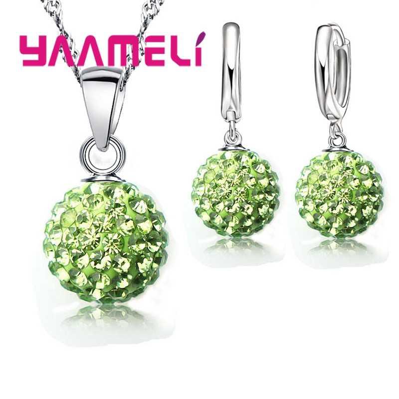 Shiny Neuesten Schmuck Set 925 Sterling Silber Österreichischen Kristall Pflastern Disco Ball Hebel Zurück Ohrring Anhänger Halskette Frauen