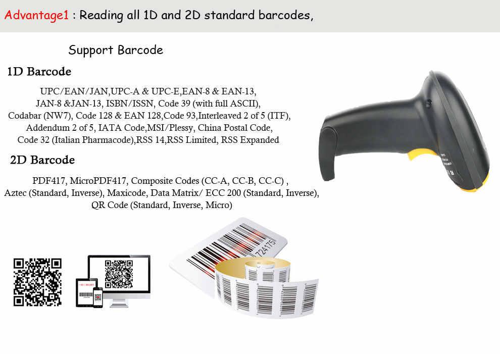 Cheap CCD QR code reader USB 2D handheld scanner gun capture barcode on  phone,computer,tablet HS-ZD5800 for supermarket
