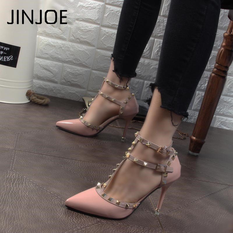 Sexy Hasp Rivet heels Female leather high-heeled pumps Stiletto heel 9 cm Pointed Toe Hollow Ventilation Shoes woman Rivet shoes high heels
