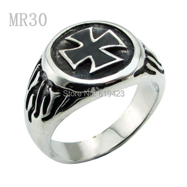 Free Shipping ! 5pcslot Top Quality Men's 316L stainless steel Flaming Hell Biker Cross Ring 2015