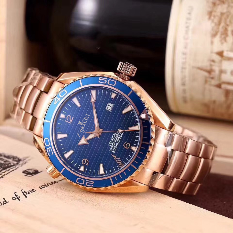 Luxury Brand New Men Automatic Mechanical Rose Gold Blue White Ceramic Bezel Stainless Steel James Bond 007 Sapphire Watch AAA+Luxury Brand New Men Automatic Mechanical Rose Gold Blue White Ceramic Bezel Stainless Steel James Bond 007 Sapphire Watch AAA+