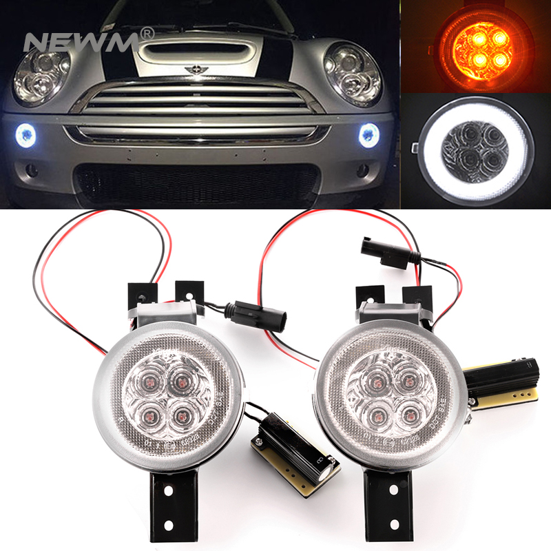 1 Pair For BMW Mini Cooper R50 R52 R53 Front Bumper Turn Signal Lamps White Amber