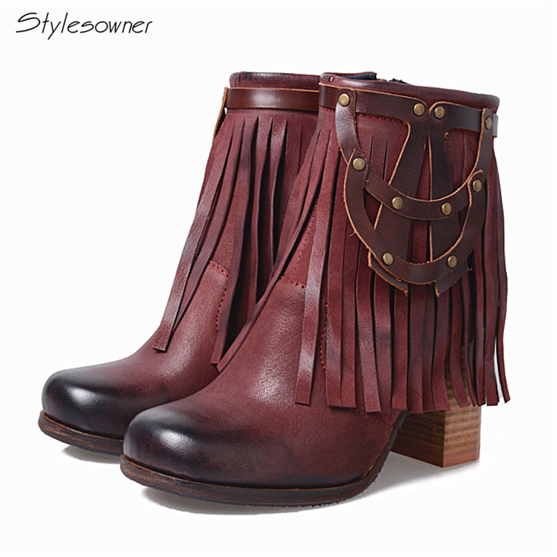 Stylesowner Top Quality Nubuck Leather Gradual Change Color Ankle Boots Women Fashion Rivet Fringe Martin Boots High Heels Boots