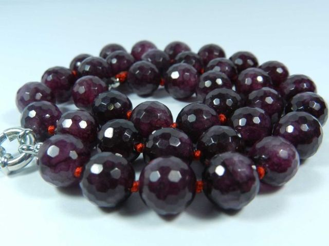 10mm Faceted Garnet Red STONE Round Beads Necklace 18""