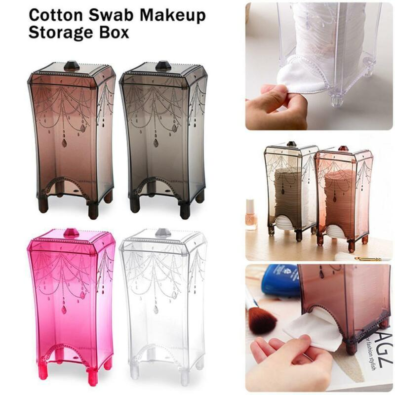 Faroot Fashion Best Cotton Pad Dispenser Storage Holder Box Case Wool Lid Transparent Dust Free Home Organization Boxes