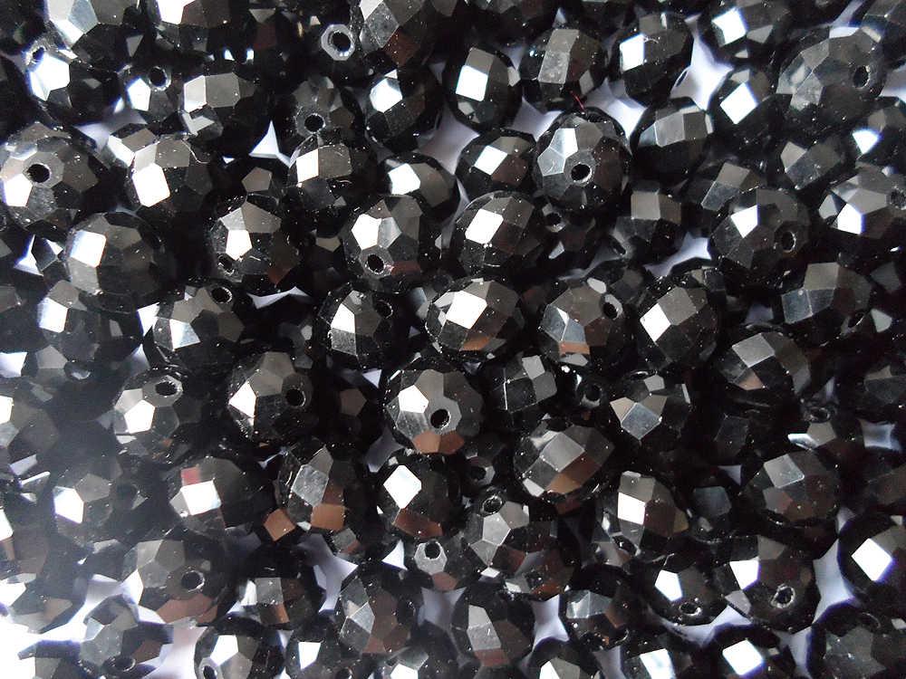 Perles noires en cristal de qualité 10MM, accessoires de bijoux de mode couleur noire solide perles de cristal 10MM, cristal noir de prix bon marché