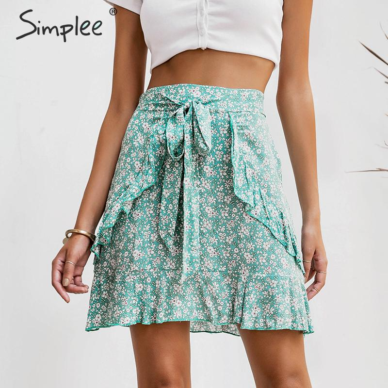 Simplee Summer Floral Print Short Skirt Female Sweet Green Cotton Lace Up Short Women Skirt High Waist Boho Beach Skirt 2019