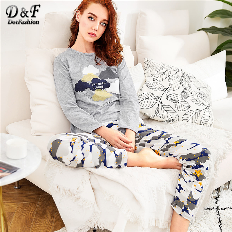 Dotfashion Cloud Print Long   Pajama     Set   For Women Clothes 2019 Autumn Casual Long Sleeve Nightwear Ladies Cartoon   Pajama     Sets