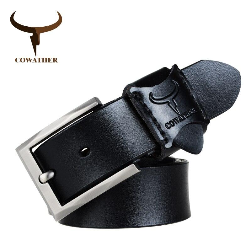COWATHER boucle ardillon vache véritable ceintures en cuir pour hommes  qualité supérieure sangle masculine alliage nouveauté b2afb59421b