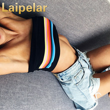 Laipelar 2018 Rainbow Print women crop tops & camis sleeveless striped printed T-Shirts vest summer casual short