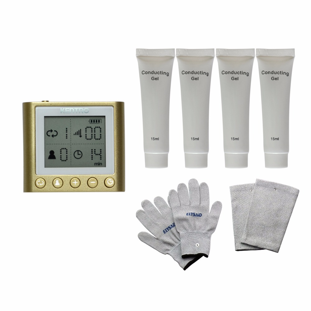 Dual Input Electrical Tens Massager Unit KTR-210 Pulse Acupuncture Muscle Stimulator With 4Pcs Conducting Gel Gloves Kneepads tens led screen magic electrictronic pulse healthcare massager blood circumstance 1pair physiotherapy gloves 4pcs conducting gel