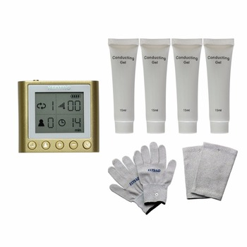 Dual Input Electrical Tens Massager Unit KTR-210 Pulse Acupuncture Muscle Stimulator With 4Pcs Conducting Gel Gloves Kneepads