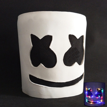 New 2019 Led Marshmello Dj Mask for Party Smile Face Kids Adult Helmet Halloween Cosplay Latex Marshmallow