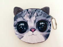 Funny Wallets Lady Brand Cute Plush Cartoon Animal Creative Dog Cat Face Change Purse For Coins Kids Women Mini Bag For Gift 3D