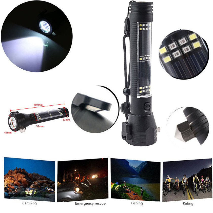 High Quality Outdoor Safety Hammer Solar Power Flashlight Emergency Rescue Tool Lamp Lig ...