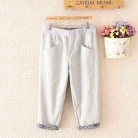 Summer Women Plus Size Elastic Waist Casual Short Capris Trousers Pockets Seven Pants Casual Loose Pants YY005