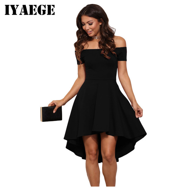 b7409f4ff1 IYAEGE Elegant Chic Party Dresses Women Burgundy All The Rage Slash Neck  Off Shoulder Skater Dress Formal High Low Midi Dress