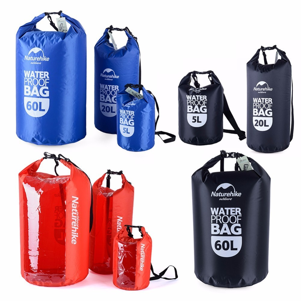 5L / 20L / 60L Outdoor PVC Waterproof Dry Sack Storage Bag Rafting Sports Kayaking Canoeing Swimming Bag with Window