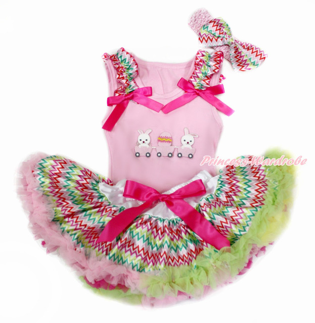 Pink pascua superior del bebé con arco iris de onda & Hot Pink con huevo de pascua y arco iris de onda bebé recién nacido de la falda con la venda MABG142
