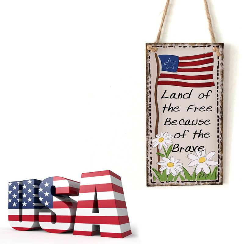 Image 2 - Vintage Wooden Hanging Plaque Land Of The Free Because Of The Brave Sign Board Wall Door Home Decoration Independence Day Party-in Plaques & Signs from Home & Garden