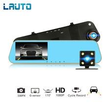 LAUTO 4,3 дюймов Автомобильный dvr камера зеркальная камера Full HD 1080 P камера заднего вида ночного видения двойной объектив видео рекордер Dash Cam