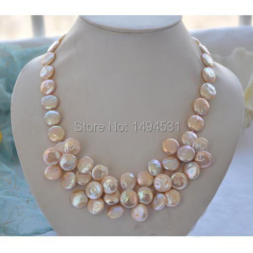 Wholesale Pearl Jewelry 20 Inches 14mm Pink Color Coin Freshwater Pearl Hand Weaving Flower Necklace - XZN24