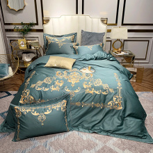 Luxury Gold Royal Embroidery 80S Egyptian Cotton Palace Bedding Set Queen King Green Blue Duvet Cover Bed sheet Pillowcases 4pcs