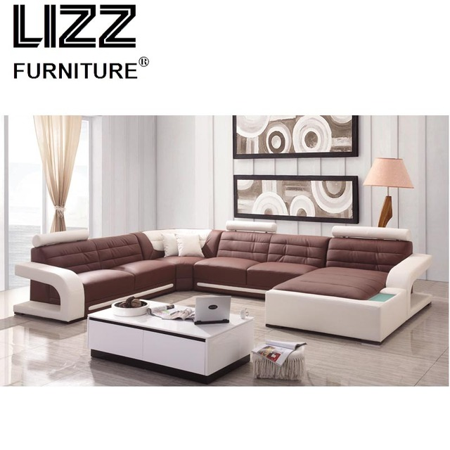 US $1800.0 |Divani Casa Home furniture chaise lounge furniture Modular U  Shape Living Room Leather Sofa Set-in Living Room Sofas from Furniture on  ...