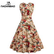 NADANBAO Women Dress Cotton Summer Vestidos Mujer Khaki Printing Women Party Dress Classic Plus Size Floral Dress