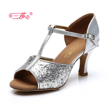 Sasha direct selling professional High Quality Salsa Tango Ballroom Sequins Latin Dance Shoes women Three colors 317