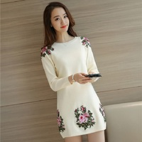 Round Neck Embroidery Flower Autumn Dress Women Long Sleeve Vestidos Vintage Pullover Winter Sweater Dresses Female