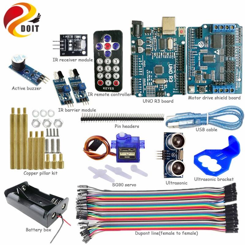 DOIT IR Control Kit with UNO R3 Board+Motor Drive Shield Board+SG90 Servo+Unltasonic Sensor for Obstacle Avoidance Arduino Kit motor drive shield l293d for arduino duemilanove mega uno
