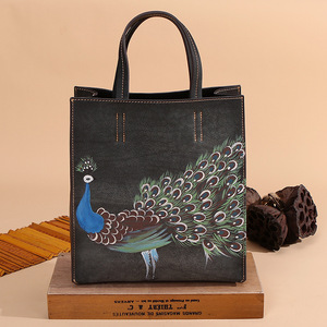 Image 2 - Johnature 2020 New Genuine Leather Casual Tote Vintage Animal Prints Zipper Hard Versatile Hand Painted Peacock Women Handbags