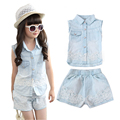Children Clothing Sets For Girls Summer Sleeveless Denim Lace Tops & Short Pants Fashion Girl Clothes Set For 2 4 6 8 10 12 Y