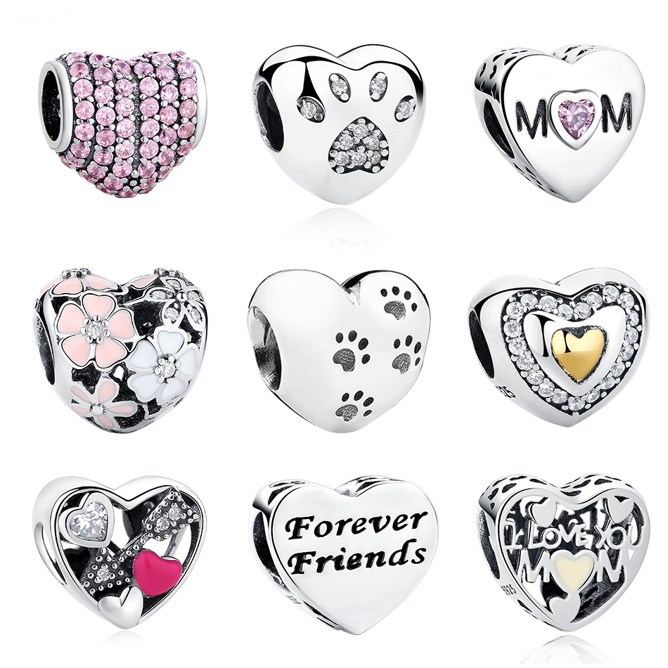 Authentic 100% 925 Sterling Silver Beads Crystal Daisy Paw Print Mother Heart Charms Fit Pandora Bracelet Original DIY Jewelry strollgirl car keys 100% sterling silver charm beads fit pandora charms silver 925 original bracelet pendant diy jewelry making